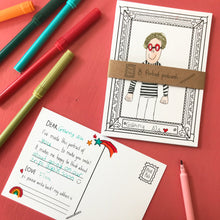 Load image into Gallery viewer, Post Pals - Postcard Portraits - 8 fun postcards for kids to colour, complete & send