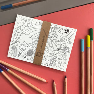Post Pals Postcards - 8 fun postcards for kids to colour, complete & send