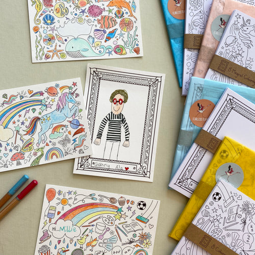 Post Pals - 4 pack Colouring postcard Bundle (32 postcards)