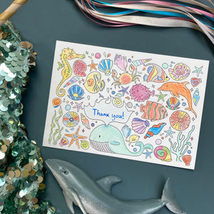 Post Pals Postcards - 8 OCEAN postcards for kids to colour, complete & send