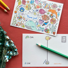 Load image into Gallery viewer, Post Pals Postcards - 8 OCEAN postcards for kids to colour, complete & send