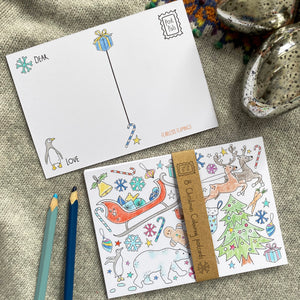Christmas colouring postcards - 8pk