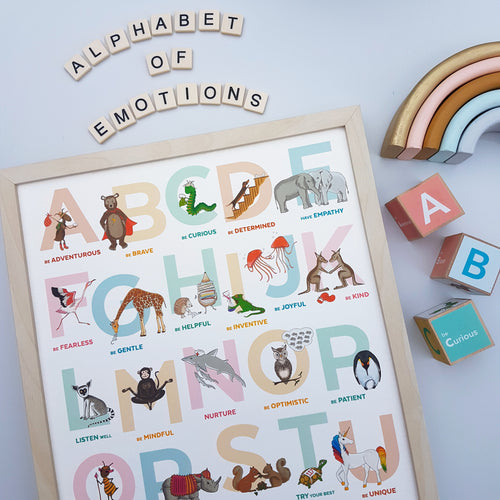 The Original A to Z animal Alphabet of Emotions print - Portrait