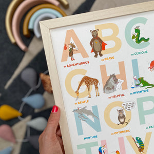 The Original A to Z animal Alphabet of Emotions print - Landscape