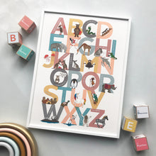 Load image into Gallery viewer, Illustrated animal Alphabet of Emotions children's print - an A to Z of inspiring attitudes and emotions