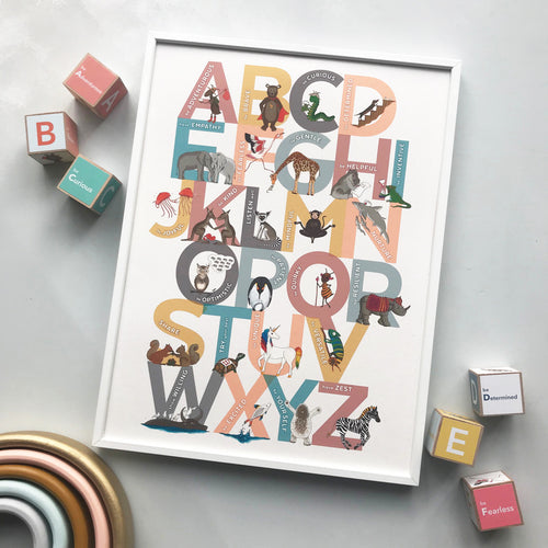 Illustrated animal Alphabet of Emotions children's print - an A to Z of inspiring attitudes and emotions