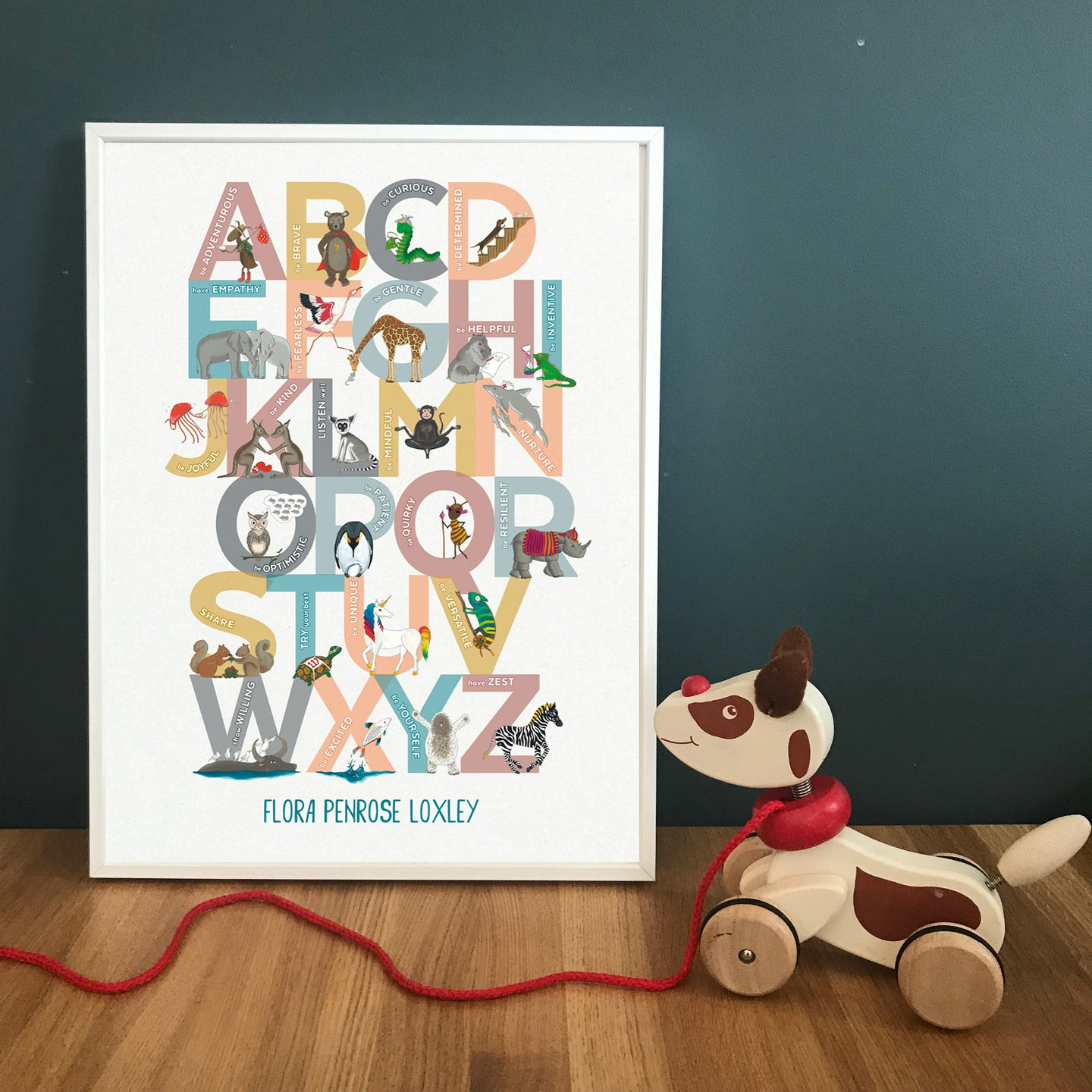 Personalised A to Z of Emotions block print
