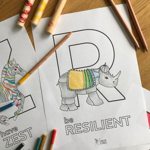 'be Resilient' free colouring in download