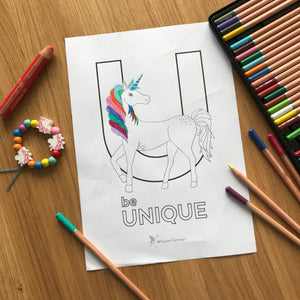 'be Unique' free colouring in download