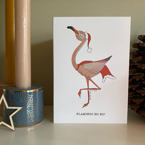 Flamingo Ho Ho! Christmas card