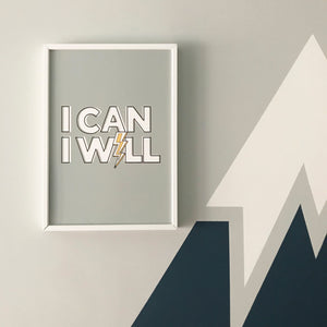 I Can, I Will! Inspiring typographic print in blue-grey