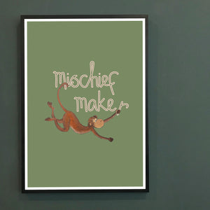 Mischief Maker cheeky monkey print