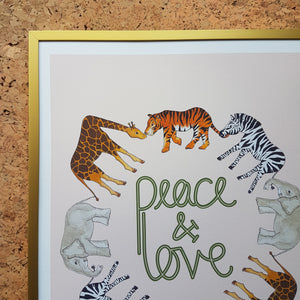 Peace and Love safari animal print