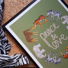 Load image into Gallery viewer, Peace and Love safari animal print