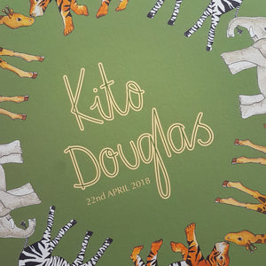 Personalised safari animal name print