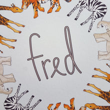 Load image into Gallery viewer, Personalised safari animal name print