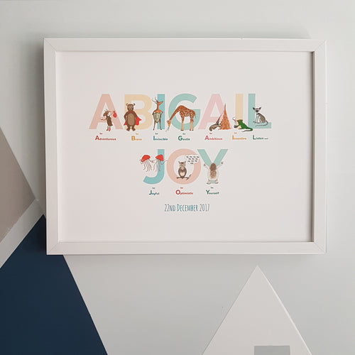 Personalised Alphabet of Emotions name print