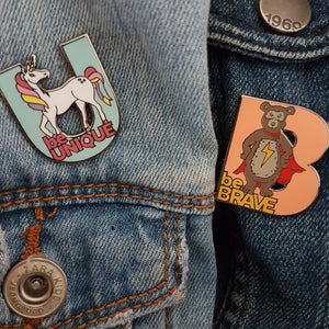 'be Brave' bear and 'be Unique' unicorn children's enamel pin badge