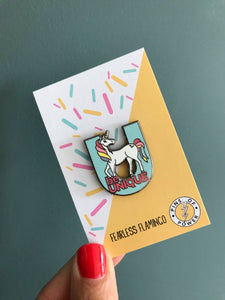 'be Unique' unicorn children's enamel pin badge