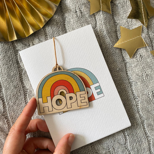 HOPE wooden decoration & card
