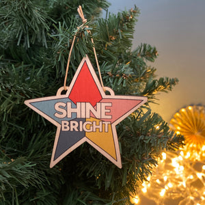 SHINE BRIGHT wooden decoration & card