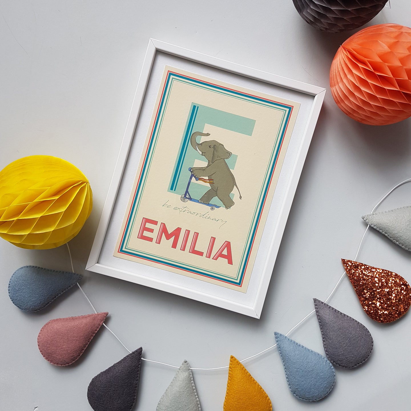 Personalised single letter Emotions print (large name, small emotion)