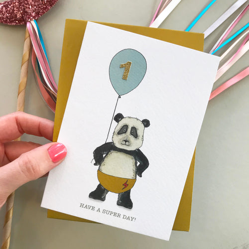 Have A Super Day! Panda birthday card (pick your number)