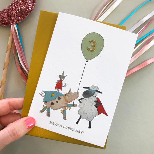 Have A Super Day! Sheep & friends birthday card (pick your number)
