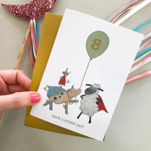 Have A Super Day! Sheep & friends birthday card