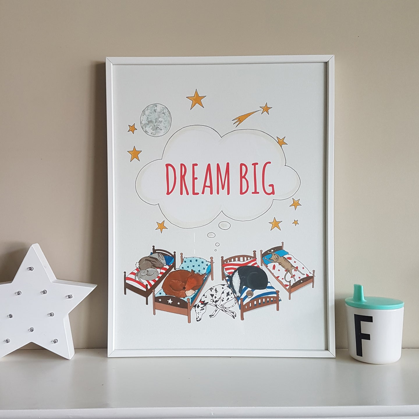 Charming hand illustrated Dream Big animal print