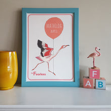 Load image into Gallery viewer, Flamingo 'be Fearless' personalised name print