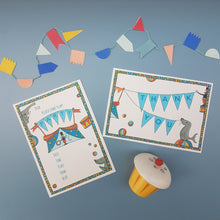 Load image into Gallery viewer, Circus party invitations & thank you notecards
