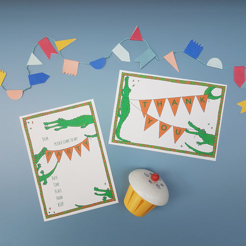 Crocodile party invitations & thank you notecards