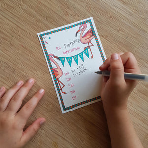 Flamingo party invites & thank you notecards