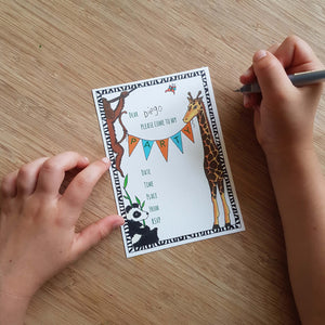 Jungle party invites & thank you notecards