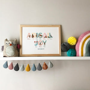 Personalised children's Alphabet of Emotions name print