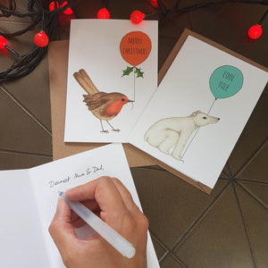 Pack of 6 Christmas cards (Robin & Polar Bear)
