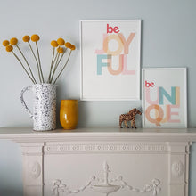 Load image into Gallery viewer, Be Joyful - typographic print