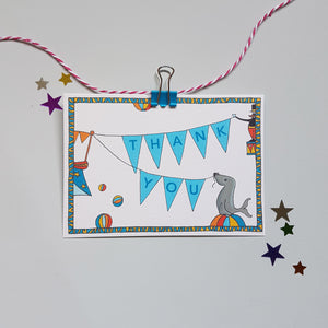 Circus party invitations & thank you notecards