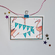 Load image into Gallery viewer, Flamingo party invites & thank you notecards