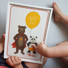 Load image into Gallery viewer, Super bears 'be Brave' personalised name print