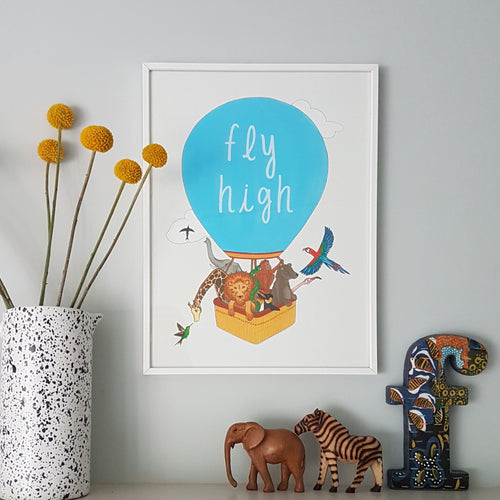 Fly High print - inspiring hand illustrated animal print