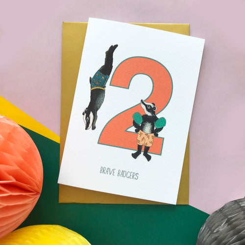 2nd Birthday card - Two Brave Badgers!