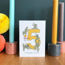 Load image into Gallery viewer, 5th Birthday card - Five Extraordinary Elephants!