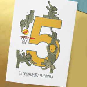 5th Birthday card - Five Extraordinary Elephants!