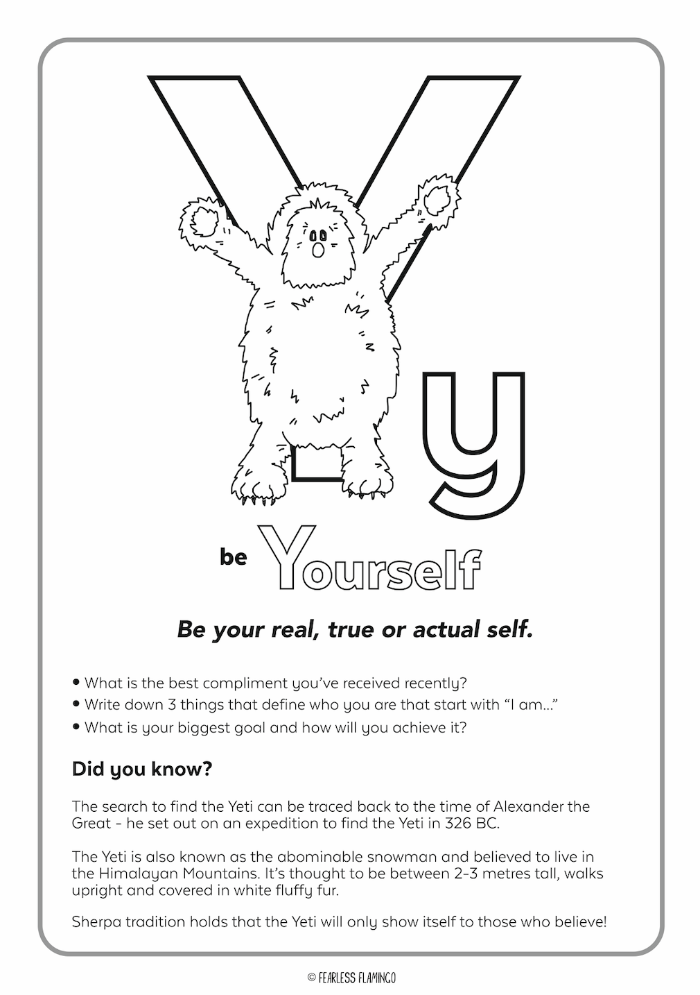 Downloadable Letter Y Worksheet
