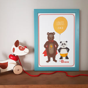Super bears 'be Brave' personalised name print