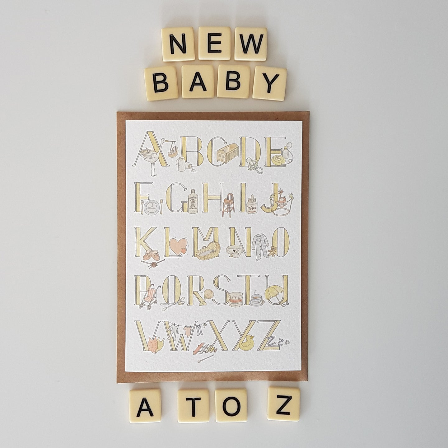 A to Z of all things baby - gender neutral new baby card
