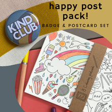 Load image into Gallery viewer, Happy Post Pack! Mini badge & postcard set