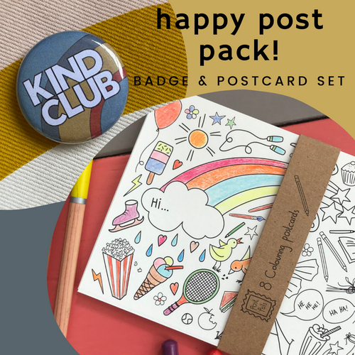 Happy Post Pack! Mini badge & postcard set